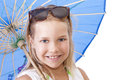 Children smiling girl with white umbrella Stock Image