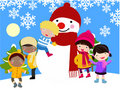 Children and snowman Royalty Free Stock Photos