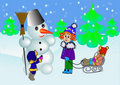 Children  and snowman Royalty Free Stock Photography