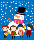 Children and snowman Stock Image