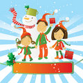 Children and snowman Royalty Free Stock Image