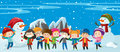 Children and snowman standing in snow