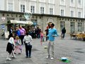 Children on the street in salzburg austria august relaxing and recreating with water bubbles famous destination Royalty Free Stock Photos