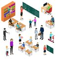 Children Student and Teacher Education Concept 3d Isometric View. Vector