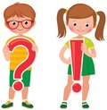 Children students are holding a question and exclamation mark Royalty Free Stock Photo