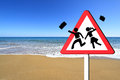 Children on summer vacation concept warning school sign Stock Photography