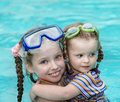 Children swim in swimming pool. Stock Image