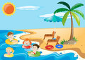 Children swimming in the sea