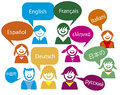 Children talk in very much country language languages spanish french english german italian russian chinese japanese and greek Stock Images