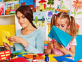 Children with teacher at classroom happy Royalty Free Stock Photography