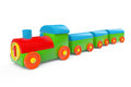 Children toy multicolor plastic train on a white background Royalty Free Stock Photo