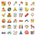 Children toy filled outline icon set