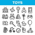 Children Toys Linear Vector Thin Icons Set