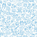 Children with toys. Seamless pattern with vector hand drawn illustration
