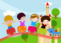 Children on Train Royalty Free Stock Photos