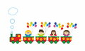 Children in train with colorful rainbow baloons Royalty Free Stock Photo