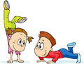 Children Trains - a fun exercise, vector cartoon Royalty Free Stock Photo