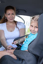 Children trasportation with baby car seat Royalty Free Stock Photo