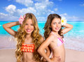 Children two friends girls happy in tropical beach vacation together Stock Photography