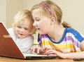 Children using laptop Royalty Free Stock Images
