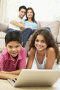 Children Using Laptop At Home Royalty Free Stock Photo