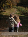 Children walking in the autumn park Stock Photography