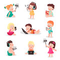 Children watching, listening, photographing and playing with electronic devices, colorful vector Illustrations