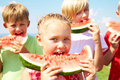 Children with watermelon Royalty Free Stock Photography