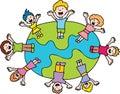Children Waving Around The World