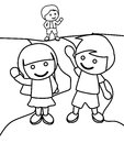 Children waving at each other coloring page Royalty Free Stock Photo