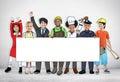 Children wearing future job uniforms Royalty Free Stock Image