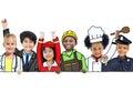 Children wearing future job uniforms Royalty Free Stock Photo
