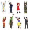 Children wearing future job uniforms Stock Photos