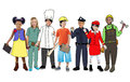 Children wearing future job uniforms isolated on white Stock Images