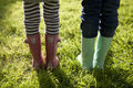 Children in wellington boots standing on grass Royalty Free Stock Photo