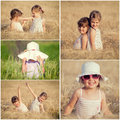 Children in the wheat collage happy Stock Images