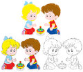 Children with a whirligig little girl and boy playing humming top three versions of the illustration Stock Photos