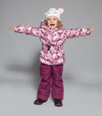 Children in winter clothes kids down jackets fashion child Stock Image