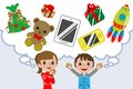Children wishing gift for promotion of christmas toy etc Stock Photography