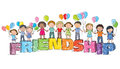 Children on the word friendship contains transparent objects eps Stock Image