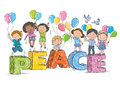 Children on the word peace contains transparent objects eps Royalty Free Stock Photography