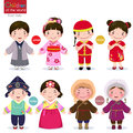 Children of the world; Japan, China, Korea and Mongolia Royalty Free Stock Photo