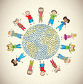 Children world over beige background vector illustration Stock Photos