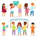 Children world vector happy kids in peace on planet earth and worldwide earthly friendship illustration peaceful Royalty Free Stock Photo