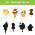 Children's educational game, find correct shadow silhouette. Sweets, ice cream, set the game to find the right shade. Vector