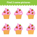 Children's educational game. Find two same pictures. Set of cupcakes for the game find two same pictures. Vector illustration Royalty Free Stock Photo