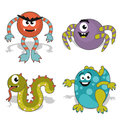 Childrens cartoon monster nice monsters of colors drawings Stock Image