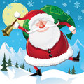 Childrens christmas illustration santa delivering presents Royalty Free Stock Photos