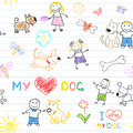 Childrens and dogs seamless background Royalty Free Stock Image