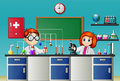 Childrens doing experiment in the lab